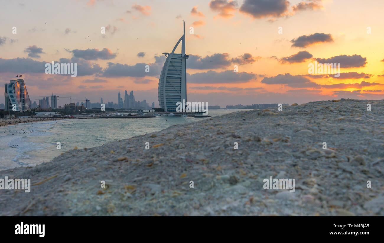 Burj Al Arab and Jumeirah Beach Hotel at the sunset - Stock Image