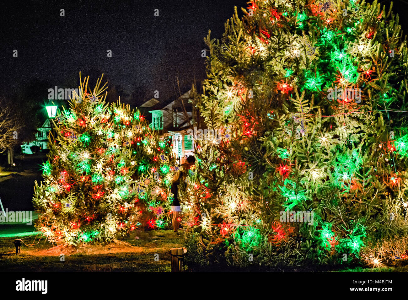 outdoor christmas decorations at christmas town usa stock image