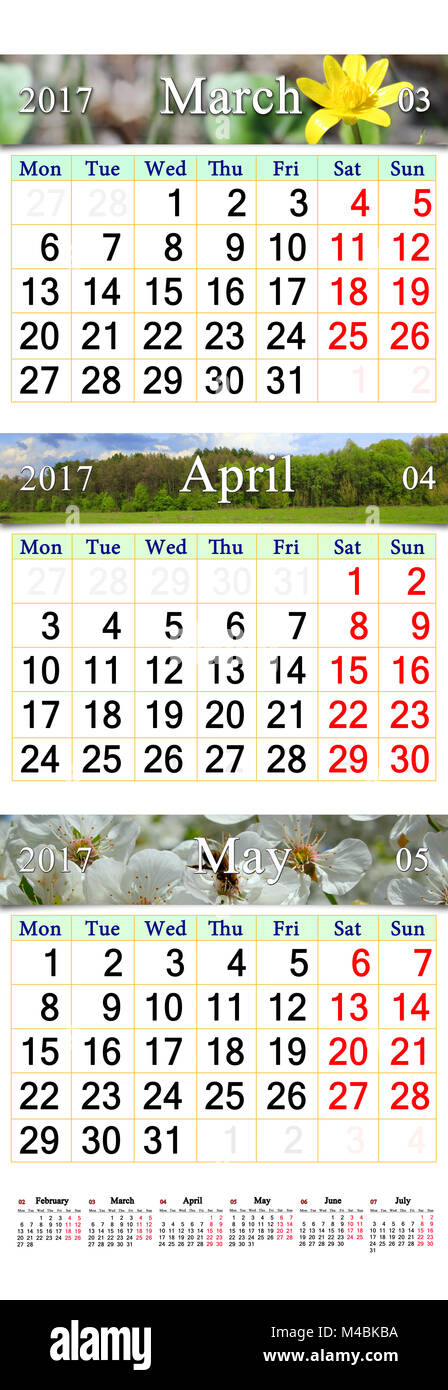 Calendar for March April and May 2017 with pictures - Stock Image