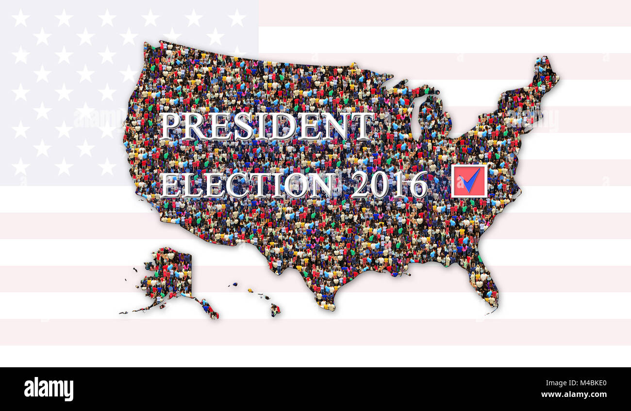 message about presidential election 2016 with map of USA - Stock Image