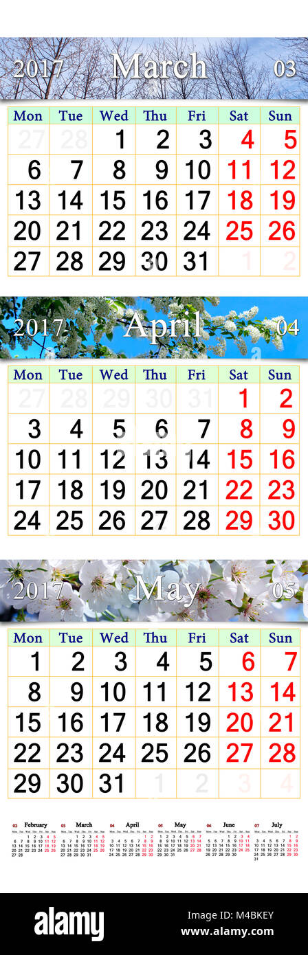 triple calendar for March April and May 2017 with pictures - Stock Image