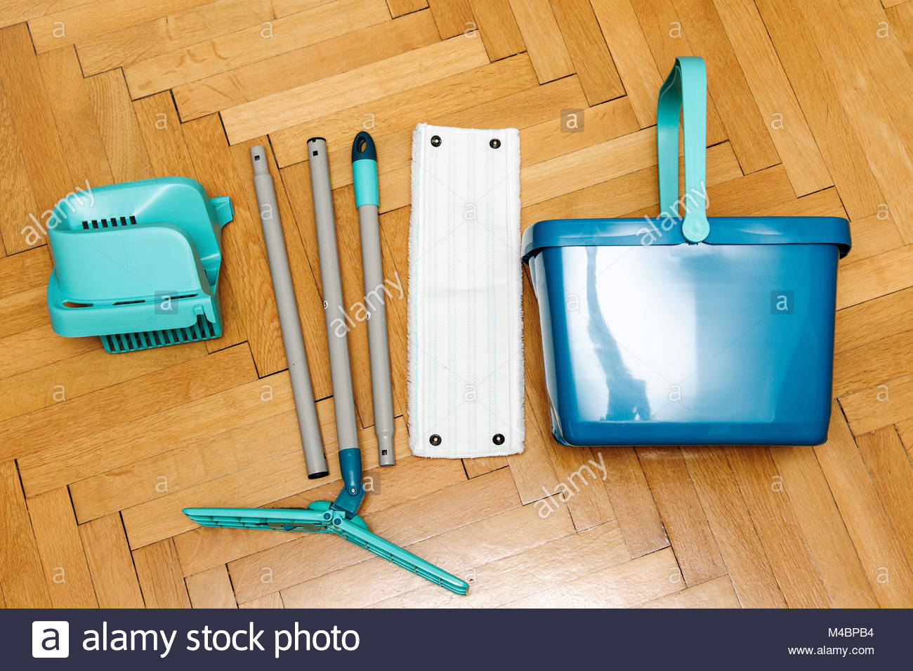 Complete set of mop with bucket as seen from above Stock Photo
