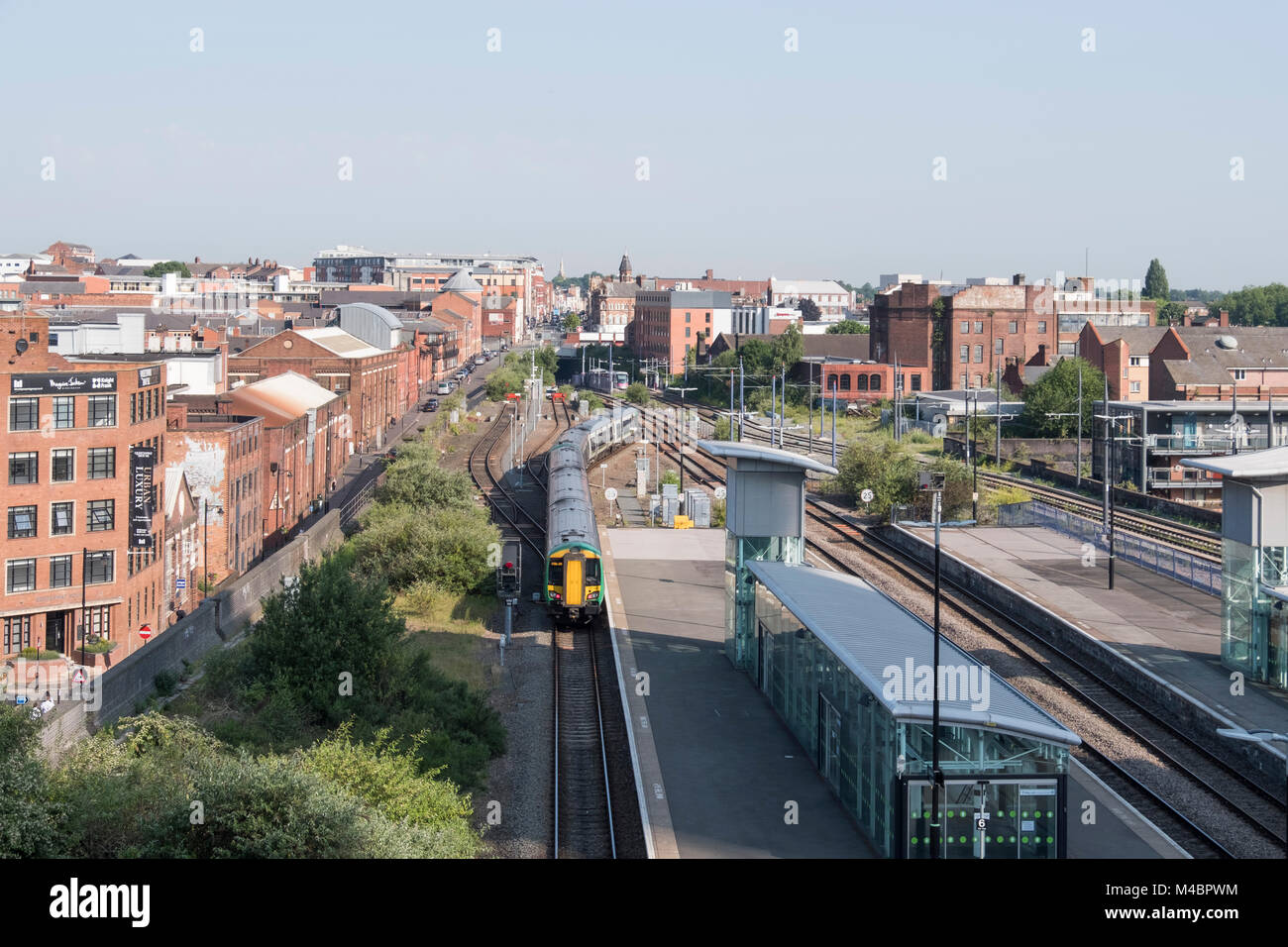 A train approaching Snow Hill train station, Birmingham Stock Photo