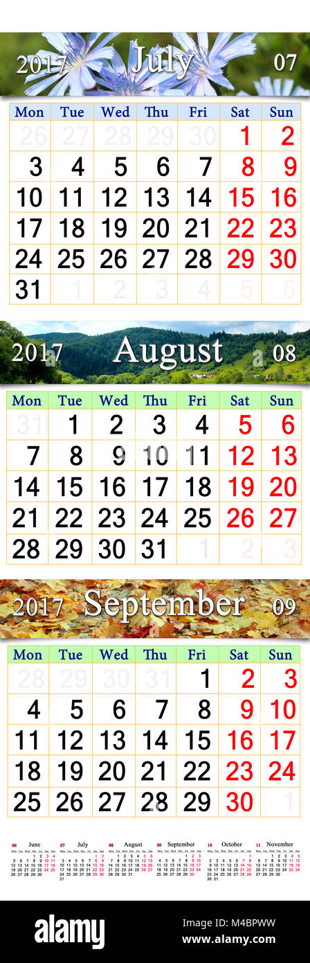 Calendar for July August September 2017 with three colored images - Stock Image