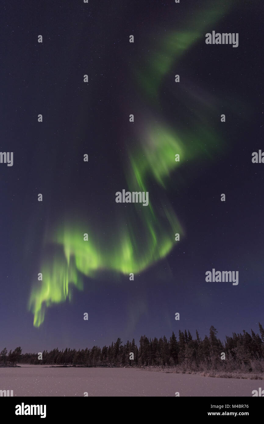 Northern lights above moonlit landscape, Lapland, Sweden - Stock Image