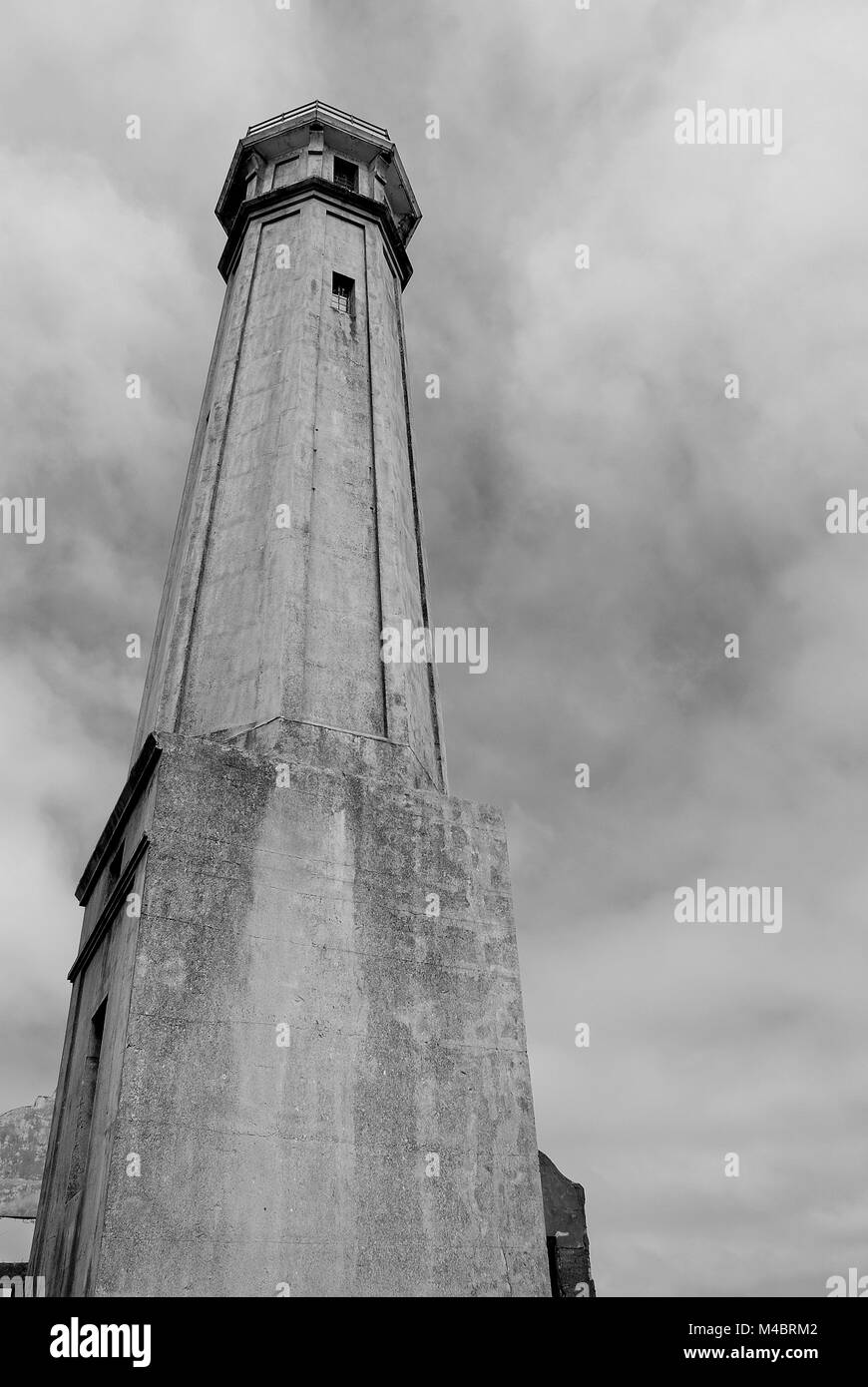 Alcatraz Island, Guard Watchtower, Cloudy Sky, Prison, Bay Area, San Francisco, California - Stock Image