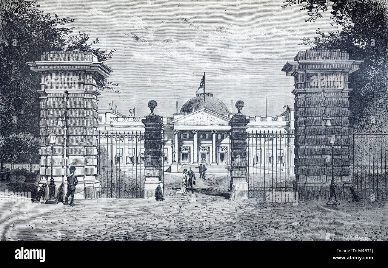 Royal Palace of Brussels Belgium (Engraving, 1880) Stock Photo