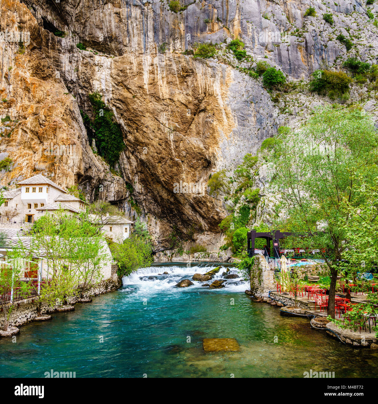Dervish monastery or tekke at the Buna River spring in the town of Blagaj, Bosnia - Stock Image