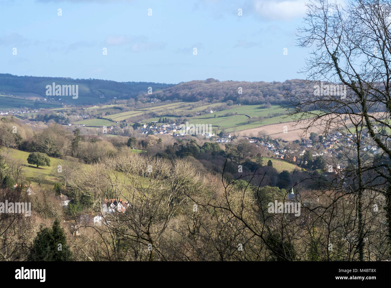 View across Bickwell Farm and the Sid Valley towards Fortescue and Sidford on the outskirts of Sidmouth, Devon, - Stock Image