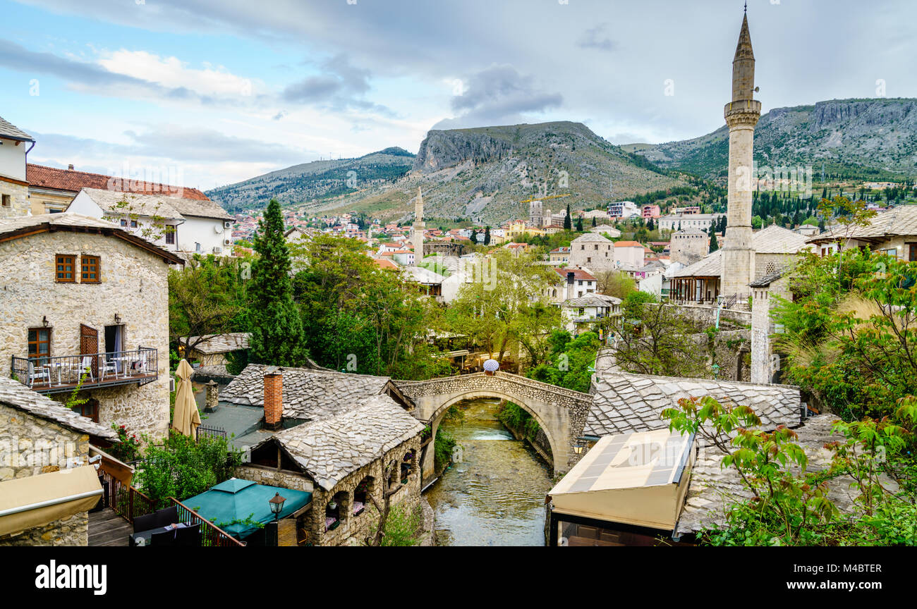 Scenic view of the historic city of Mostar, Bosnia - Stock Image