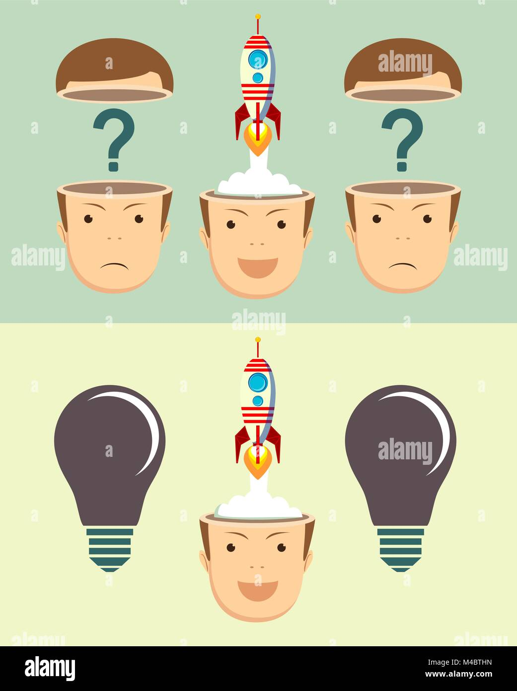 Successful businessman with rocket ship launching from his head. Set. - Stock Image