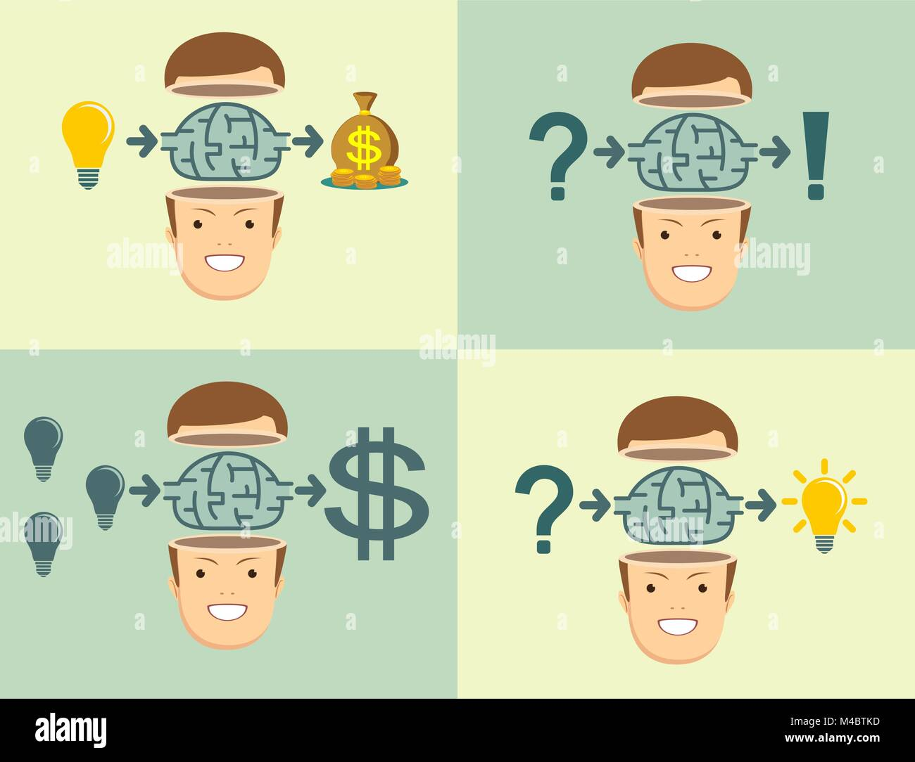 Effective Strategy. Men gets sense of education. Set. - Stock Image