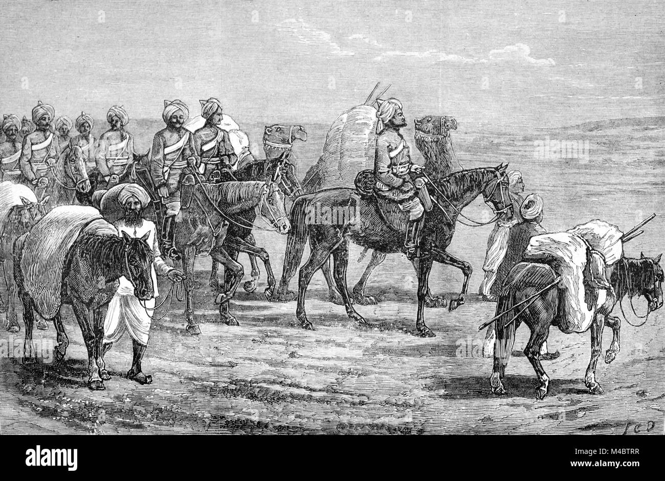 Indian Cavalry of British Army Fighting During the Second Anglo-Afghan War Afghanistan (1878-1880) between the British - Stock Image