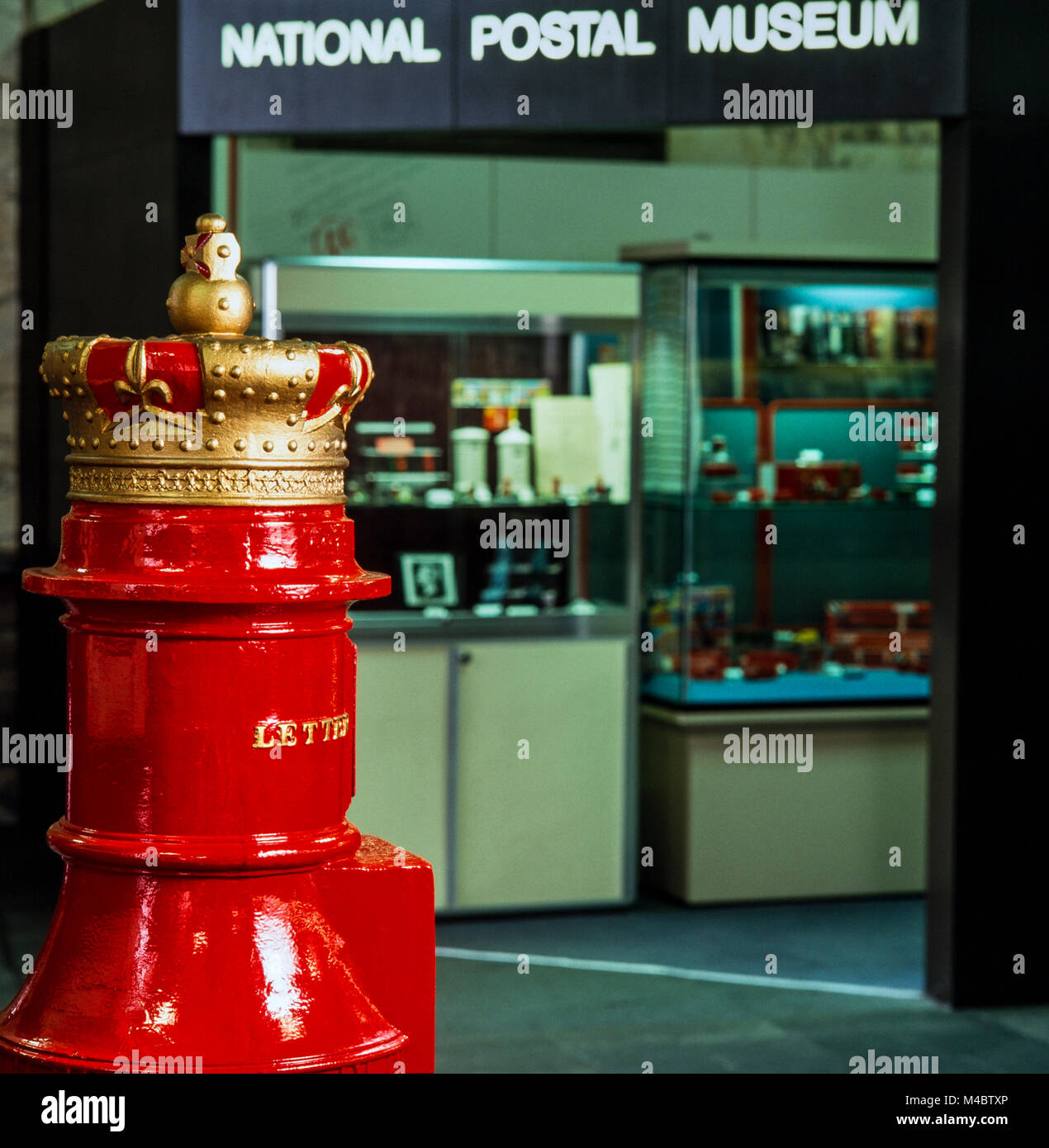 National Postal Museum, King Edward Street, London, original postbox for Scottish region used from 1856,  archival - Stock Image