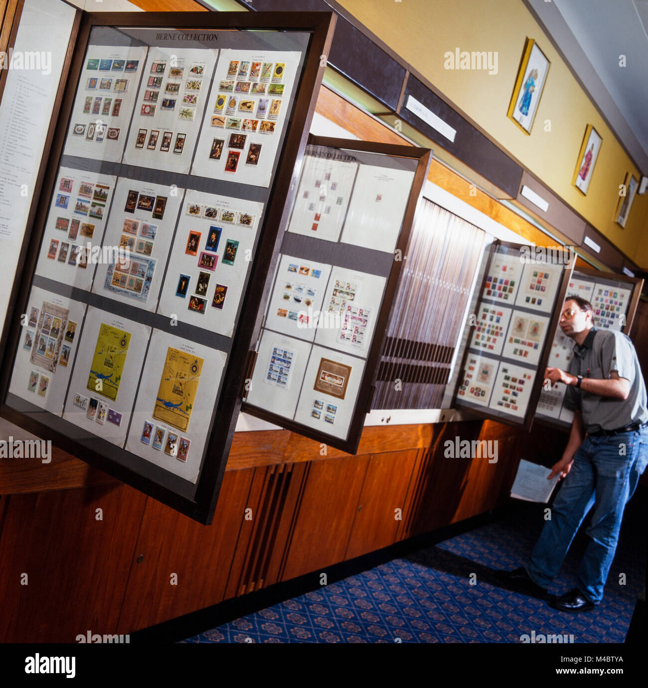 National Postal Museum, King Edward Street, London, stamps of the world collection on display, archival photograph - Stock Image