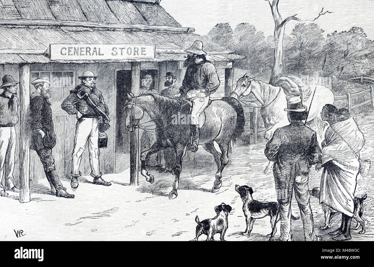Central Store, Village Store, Convenience Store or Corner Shop and Early Settlers or Colonialists in Queensland - Stock Image