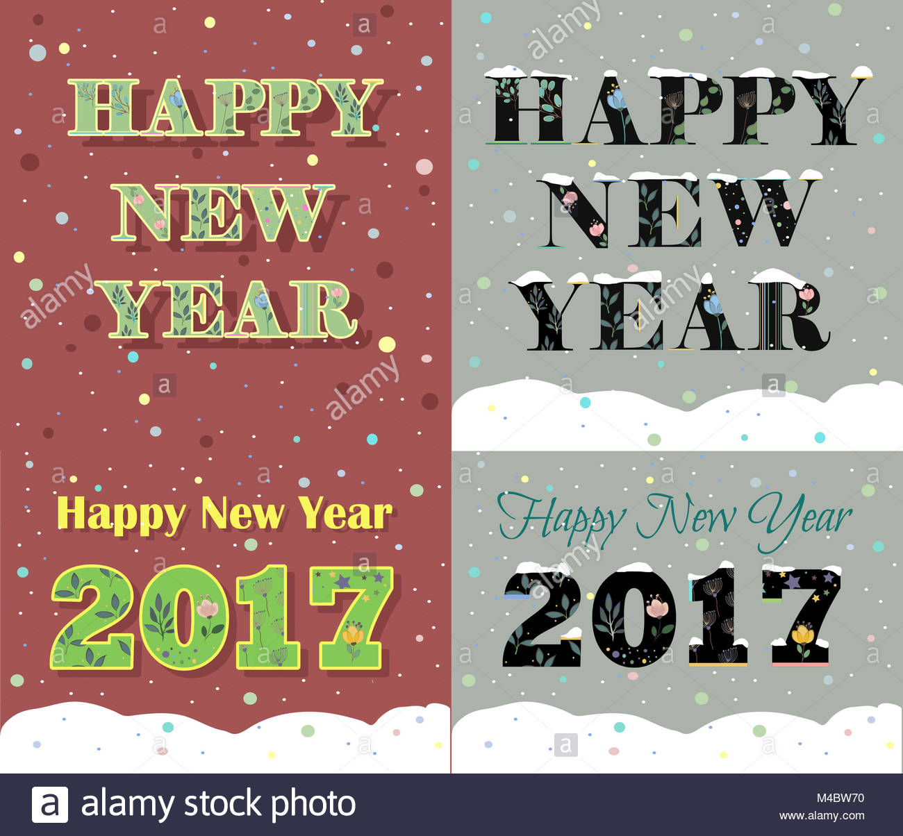 New year greeting cards stock photos new year greeting cards stock new year greeting cards artistic floral font stock image m4hsunfo