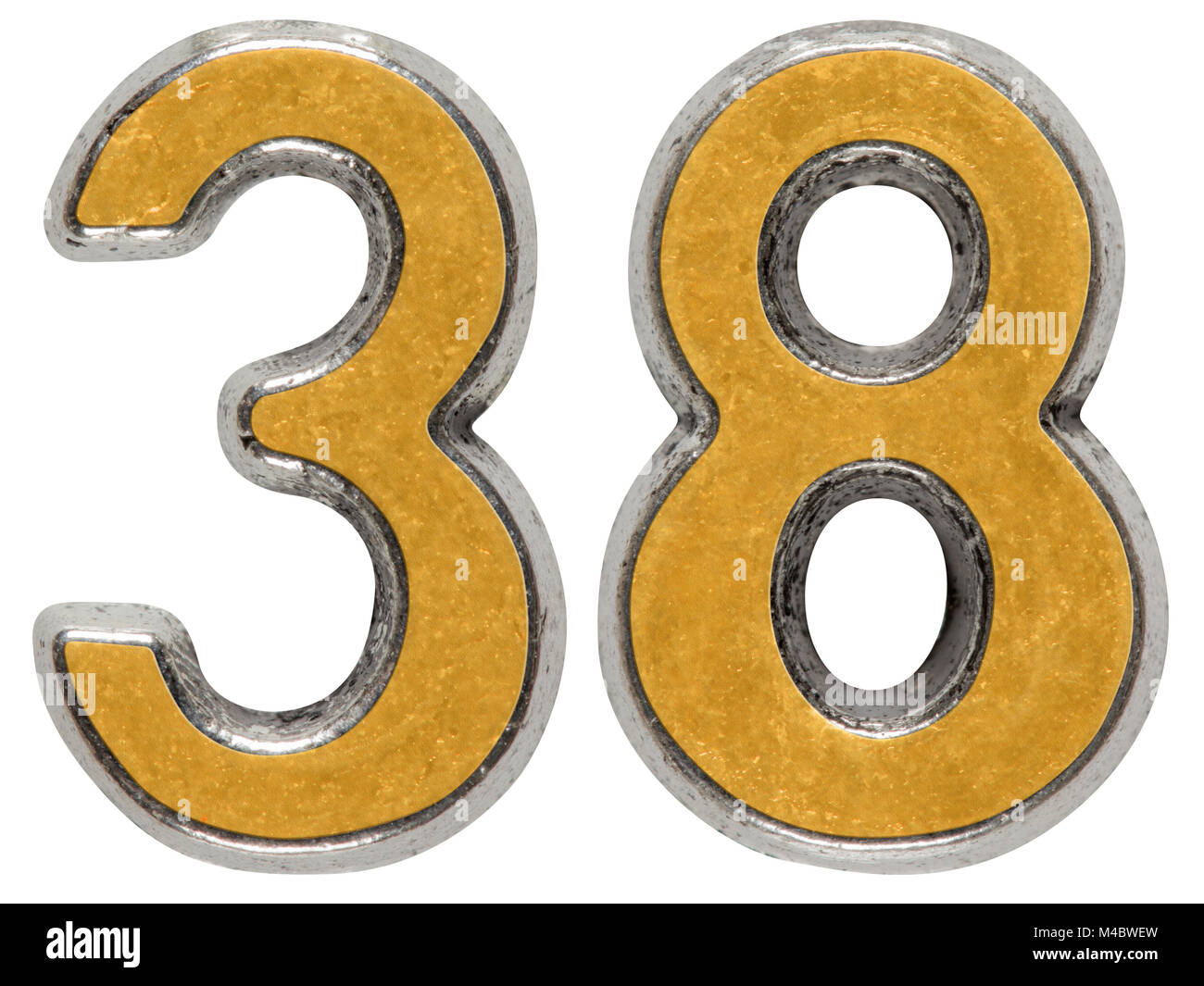 Metal numeral 38, thirty-eight, isolated on white background - Stock Image