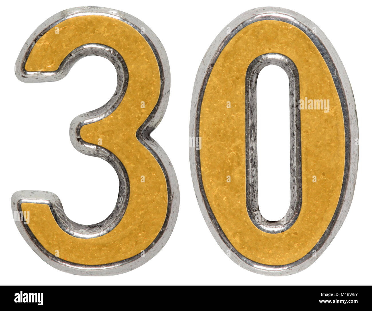 Metal numeral 30, thirty, isolated on white background Stock Photo