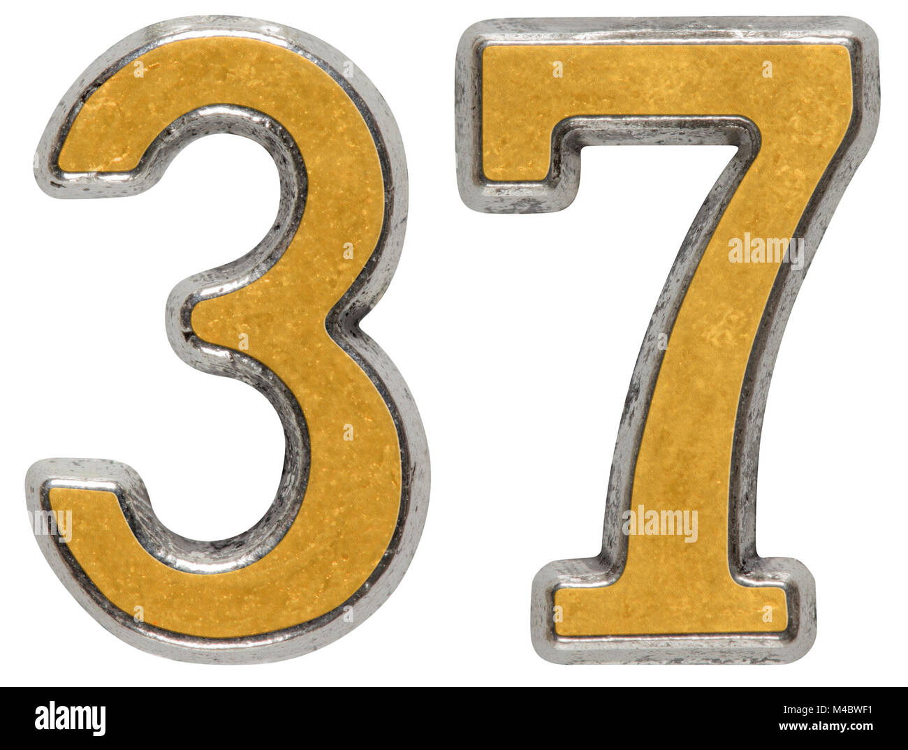 Metal numeral 37, thirty-seven, isolated on white background - Stock Image