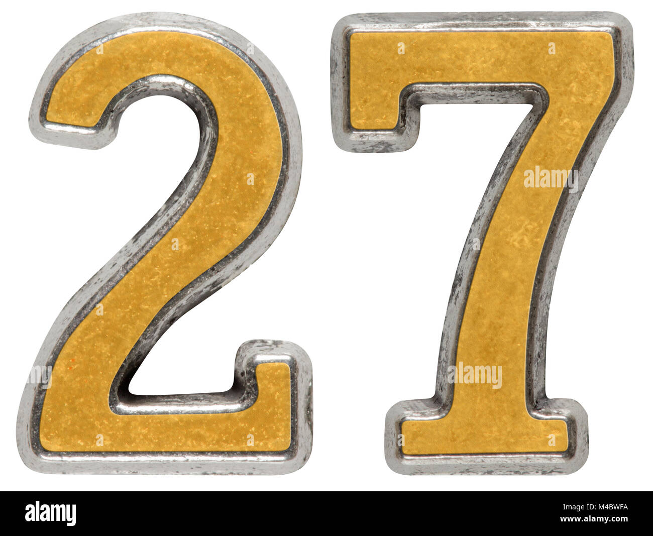 Metal numeral 27, twenty-seven, isolated on white background - Stock Image