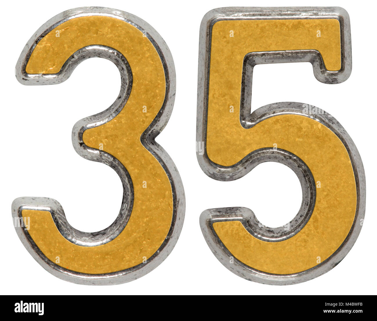 Metal numeral 35, thirty-five, isolated on white background - Stock Image