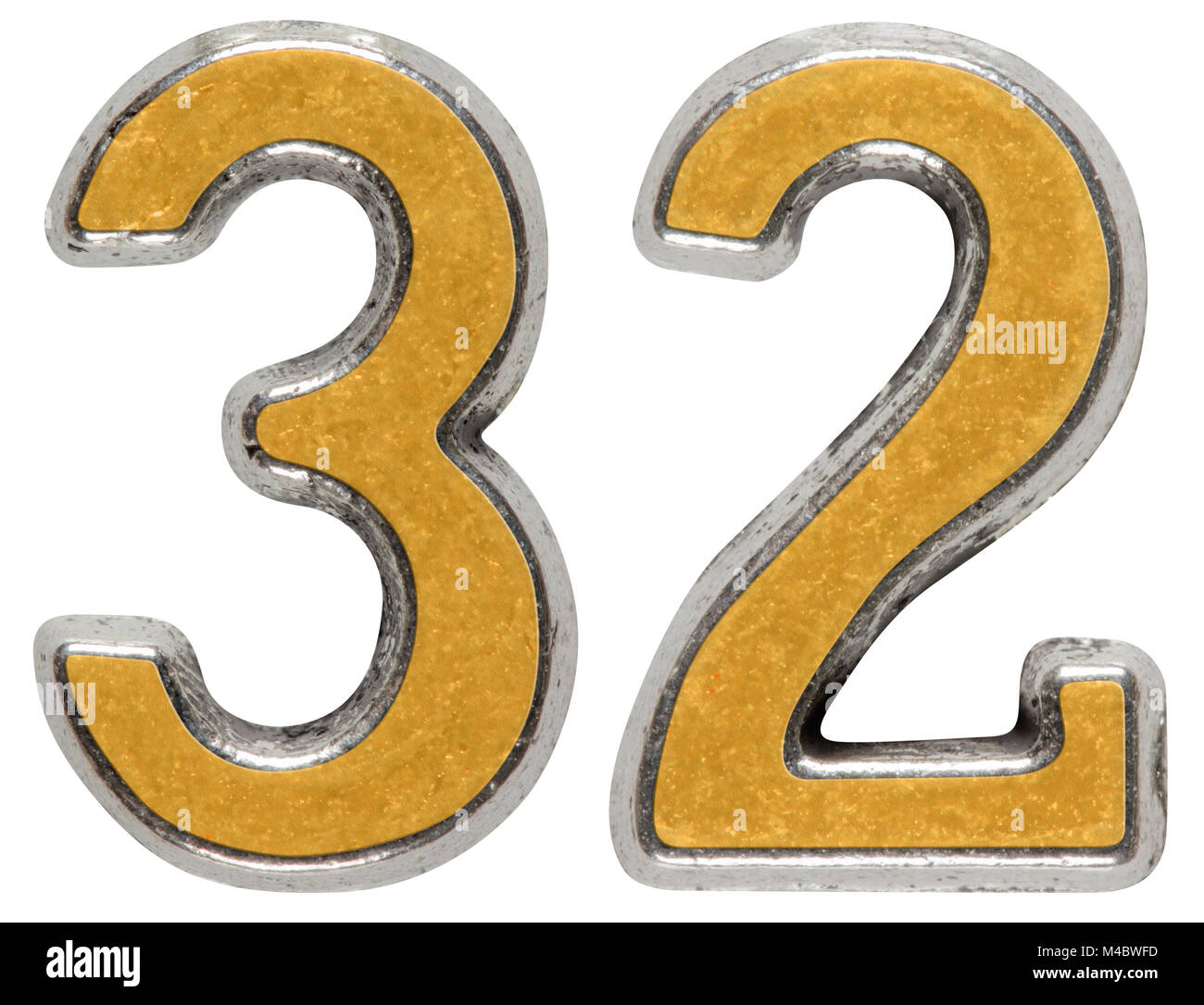 Metal numeral 32, thirty-two, isolated on white background - Stock Image