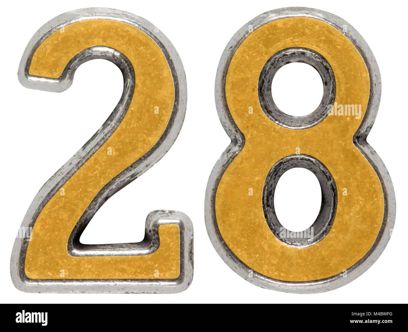 Metal numeral 28, twenty-eight, isolated on white background - Stock Image