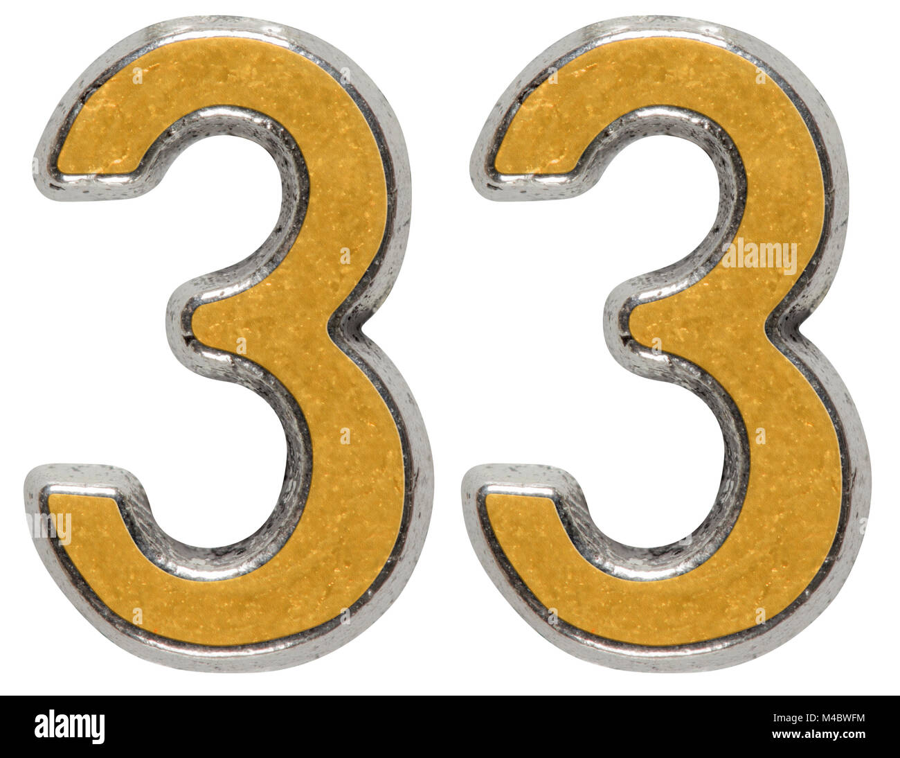 Metal numeral 33, thirty-three, isolated on white background - Stock Image