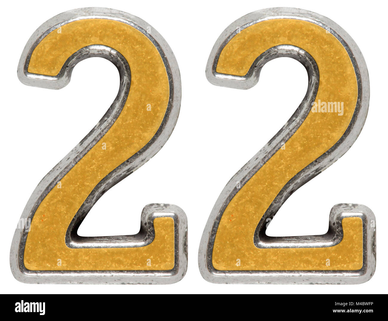 Metal numeral 22, twenty-two, isolated on white background - Stock Image