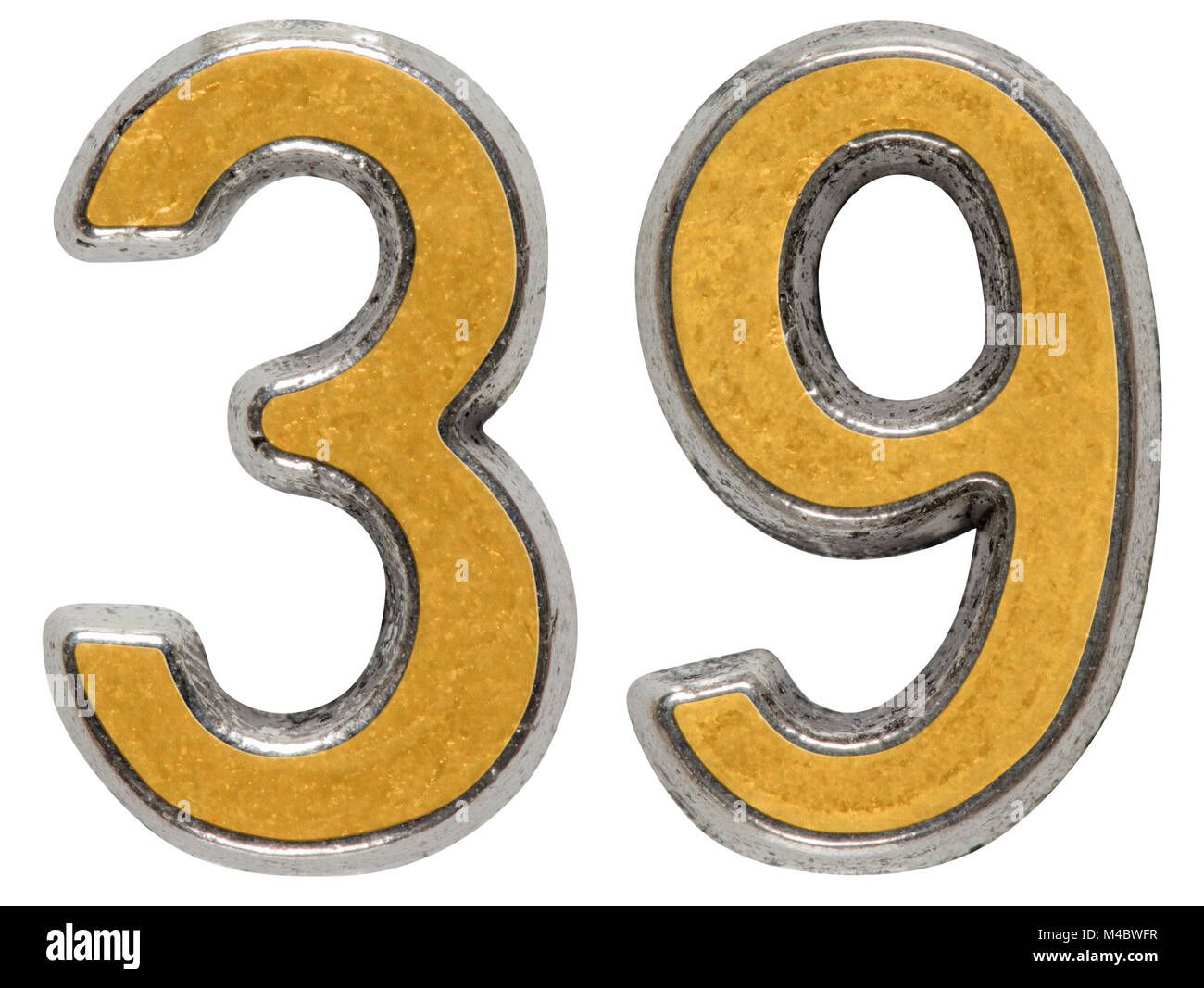 Metal numeral 39, thirty-ninth, isolated on white background - Stock Image