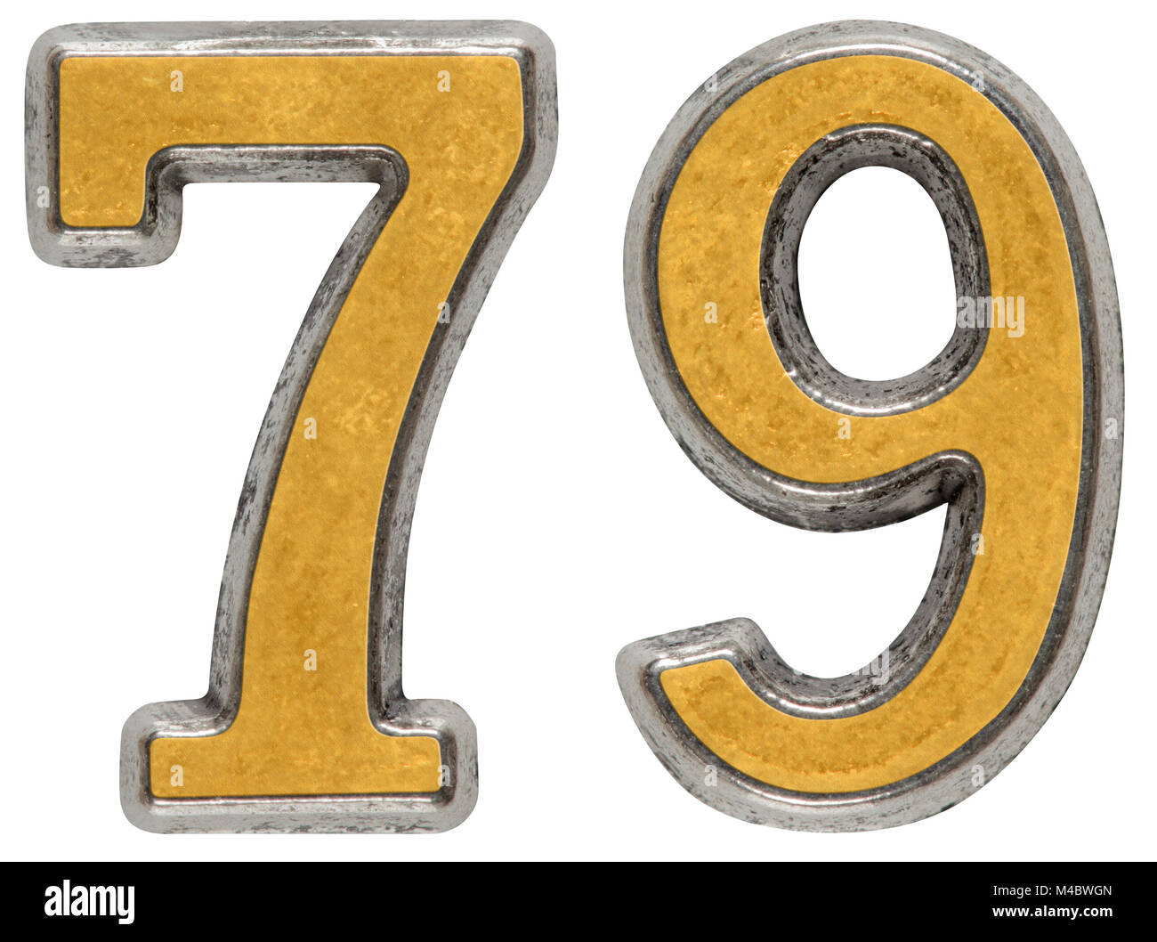 Metal numeral 79, seventy-nine, isolated on white background - Stock Image