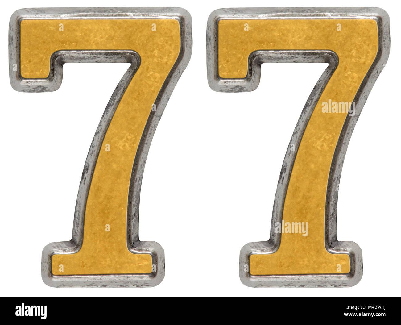 Metal numeral 77, seventy-sevendigit; isolated on white background - Stock Image