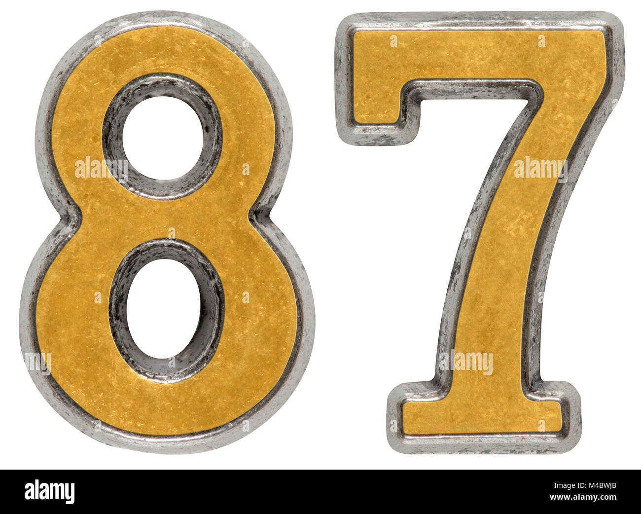 Metal numeral 87, eighty-seven, isolated on white background - Stock Image