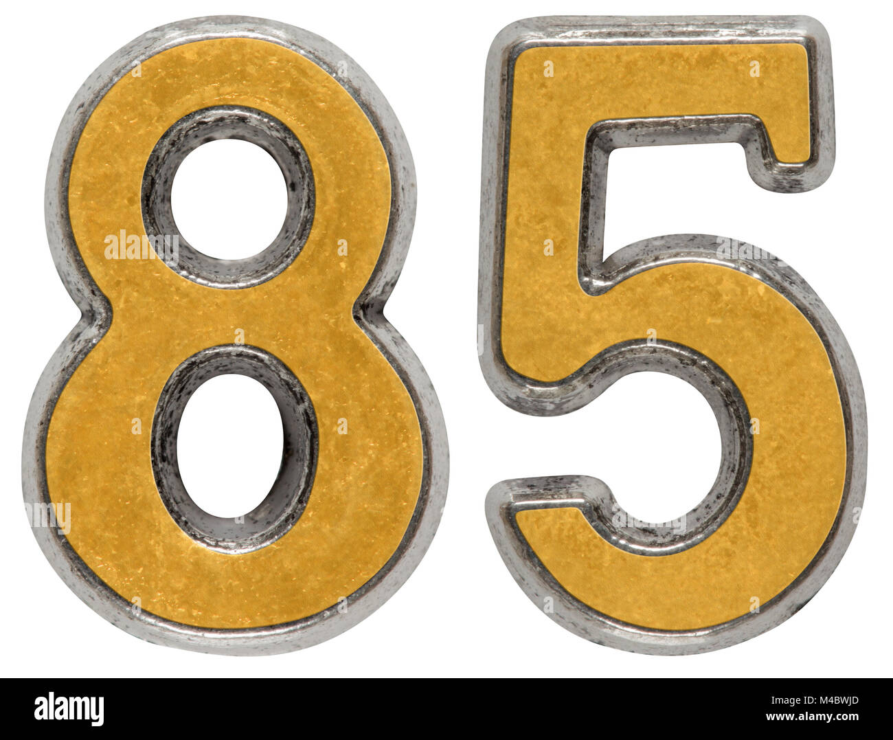 Metal numeral 85, eighty-five, isolated on white background - Stock Image