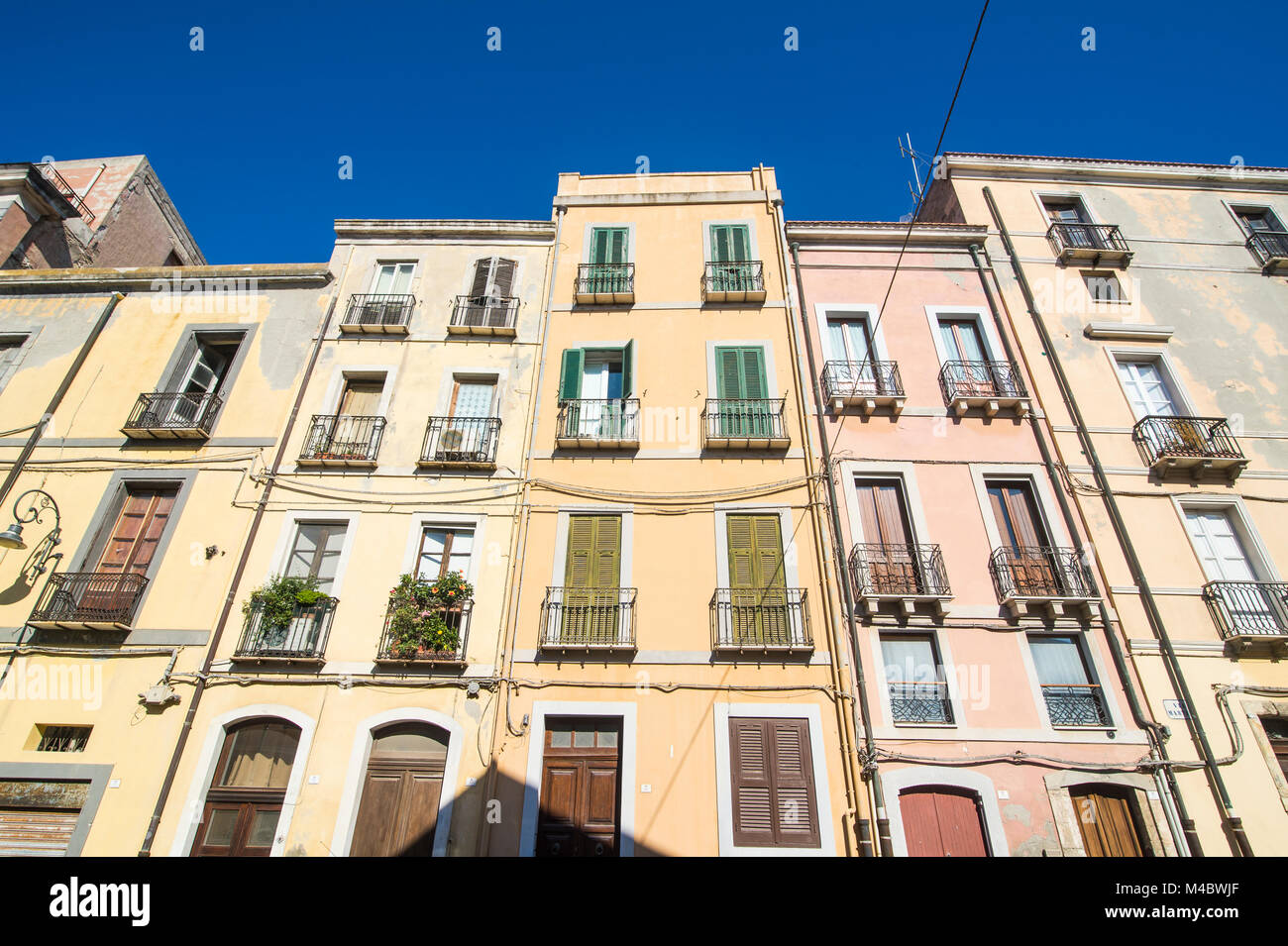 Old houses in the old town of Cagliari,Sardinia,Italy - Stock Image