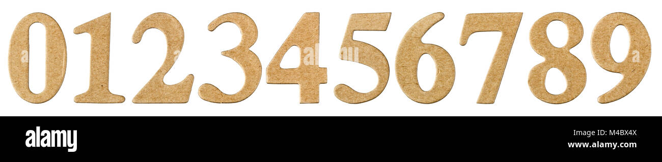 Set numeral from cardboard, isolated on white background - Stock Image
