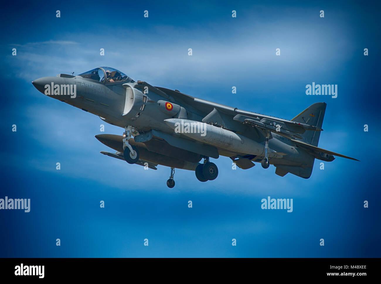 Spanish Navy McDonnell Douglas AV-8B Harrier II VTOL flying demo at the Farnborough International Trade Airshow, Stock Photo