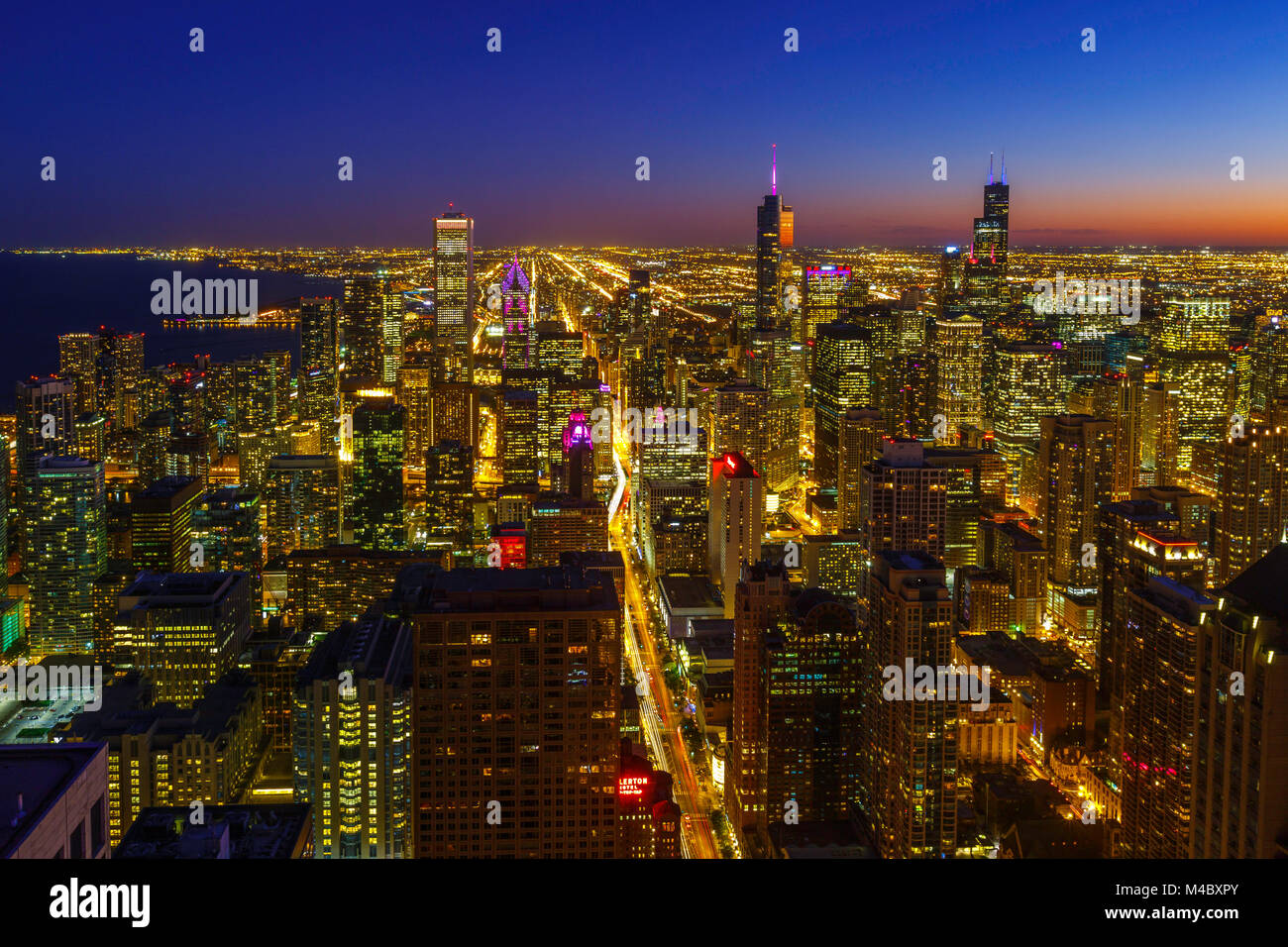 The Chicago Skyline viewed from the top of the John Hancock Tower. Stock Photo