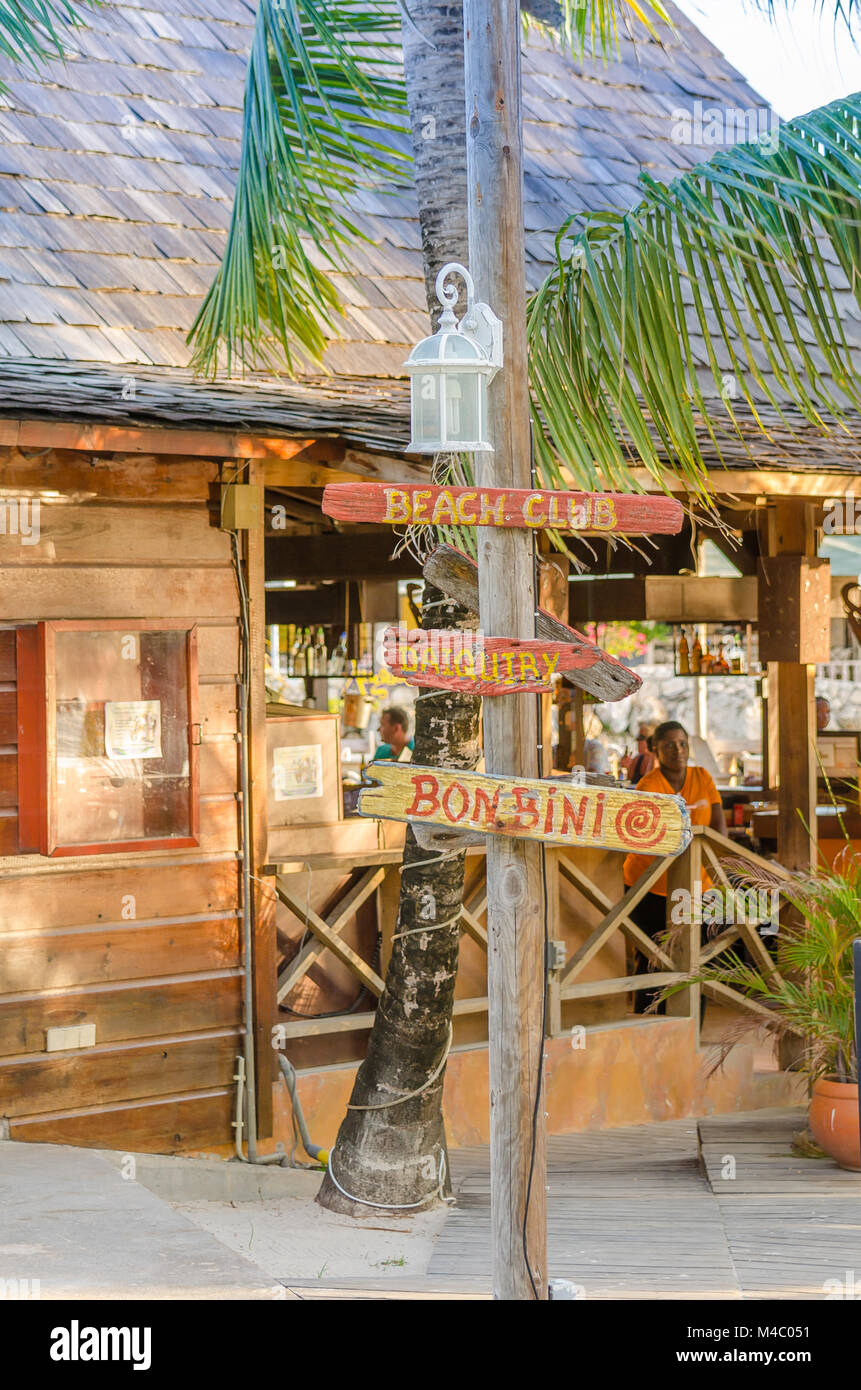 Restaurant located at the mambo beach in Curacao. - Stock Image