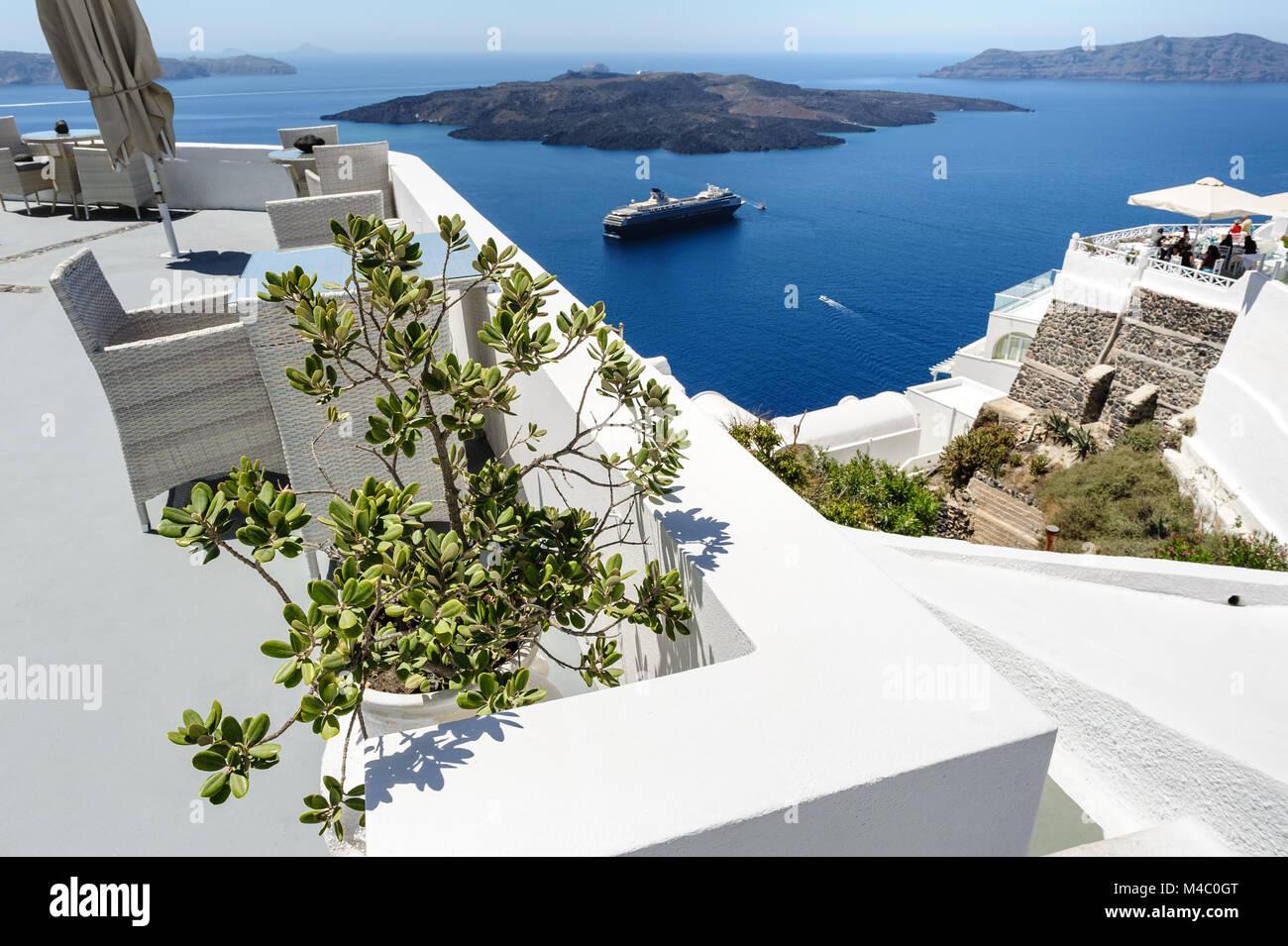 Oia luxury decks and patios - Stock Image