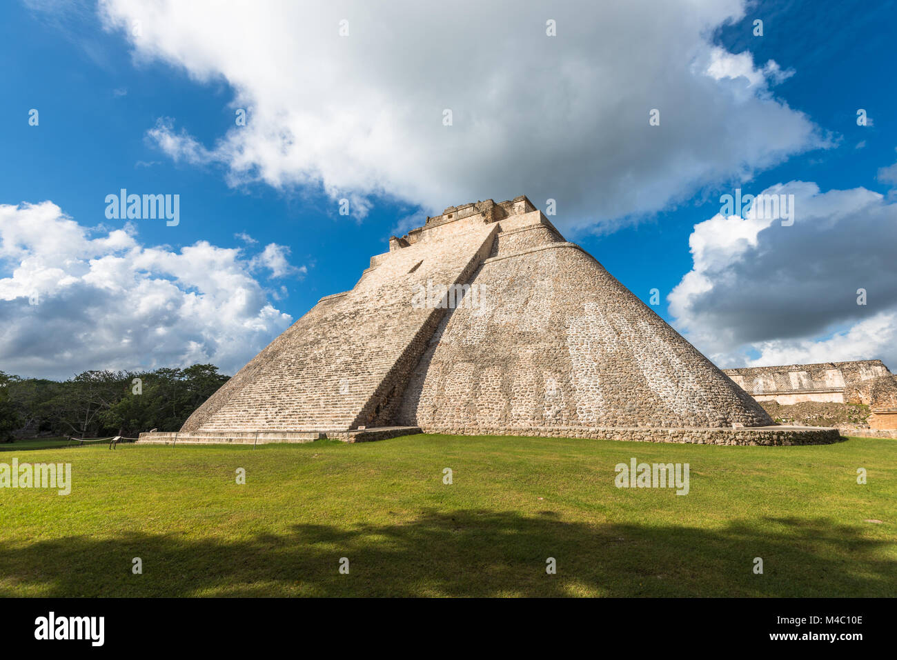 Pyramid of the Magician in Uxmal, Yucatan, Mexico Stock Photo