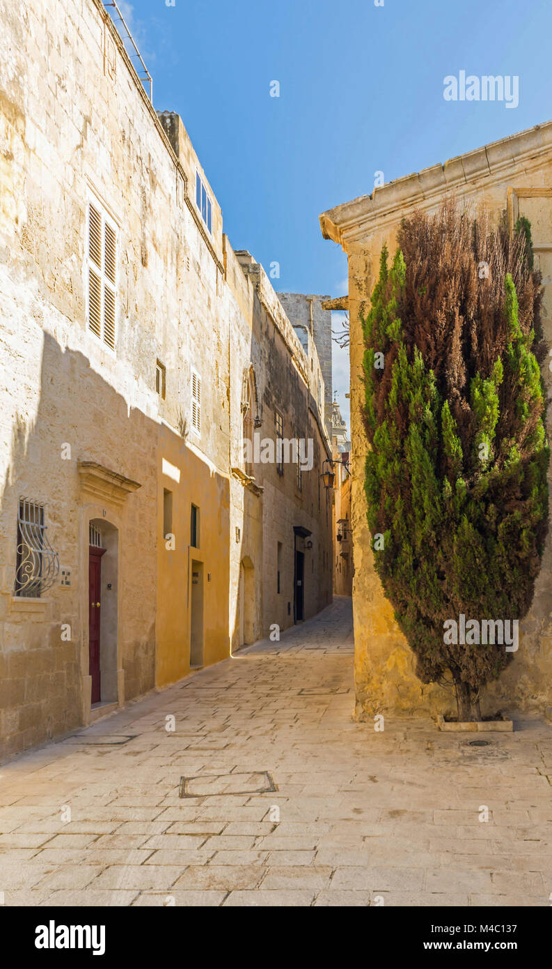 malta - streets of mdina - Stock Image