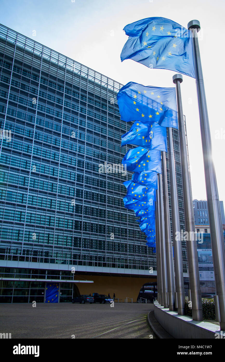 European flags in front of the Berlaymont building - Stock Image