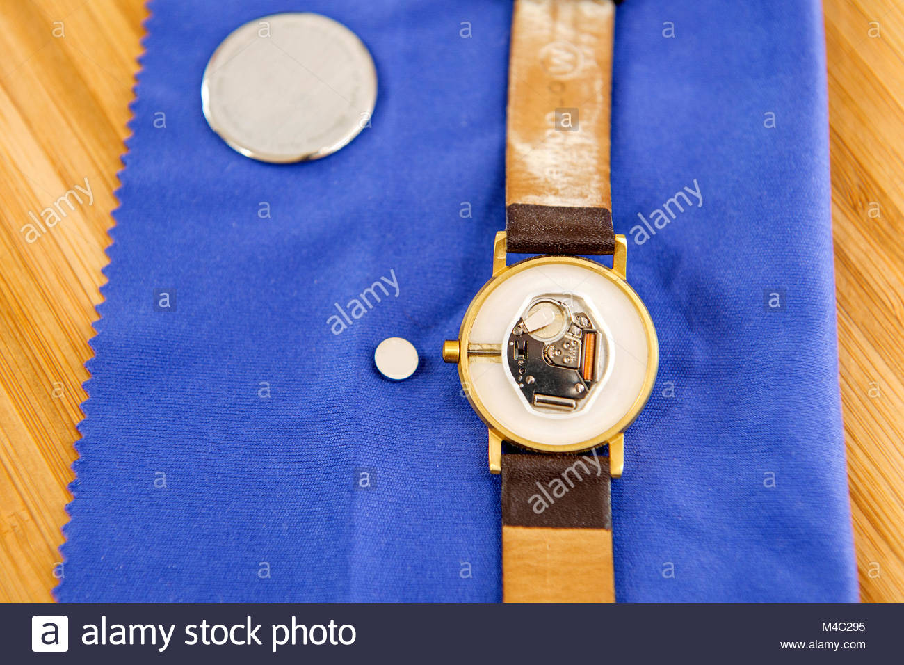 Watch repair detail with mechanism and battery replacement - Stock Image