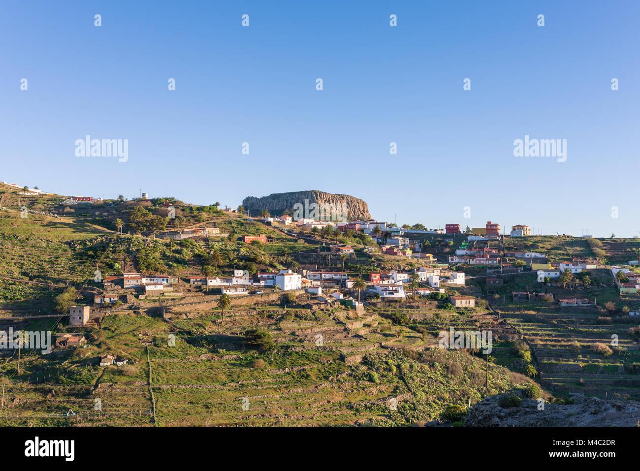 Chipude and the tableland La Fortaleza on La Gomera - Stock Image