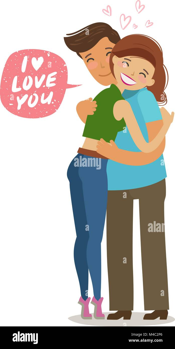 Couple Hugs Each Other Love Romance Concept Cartoon Vector Stock