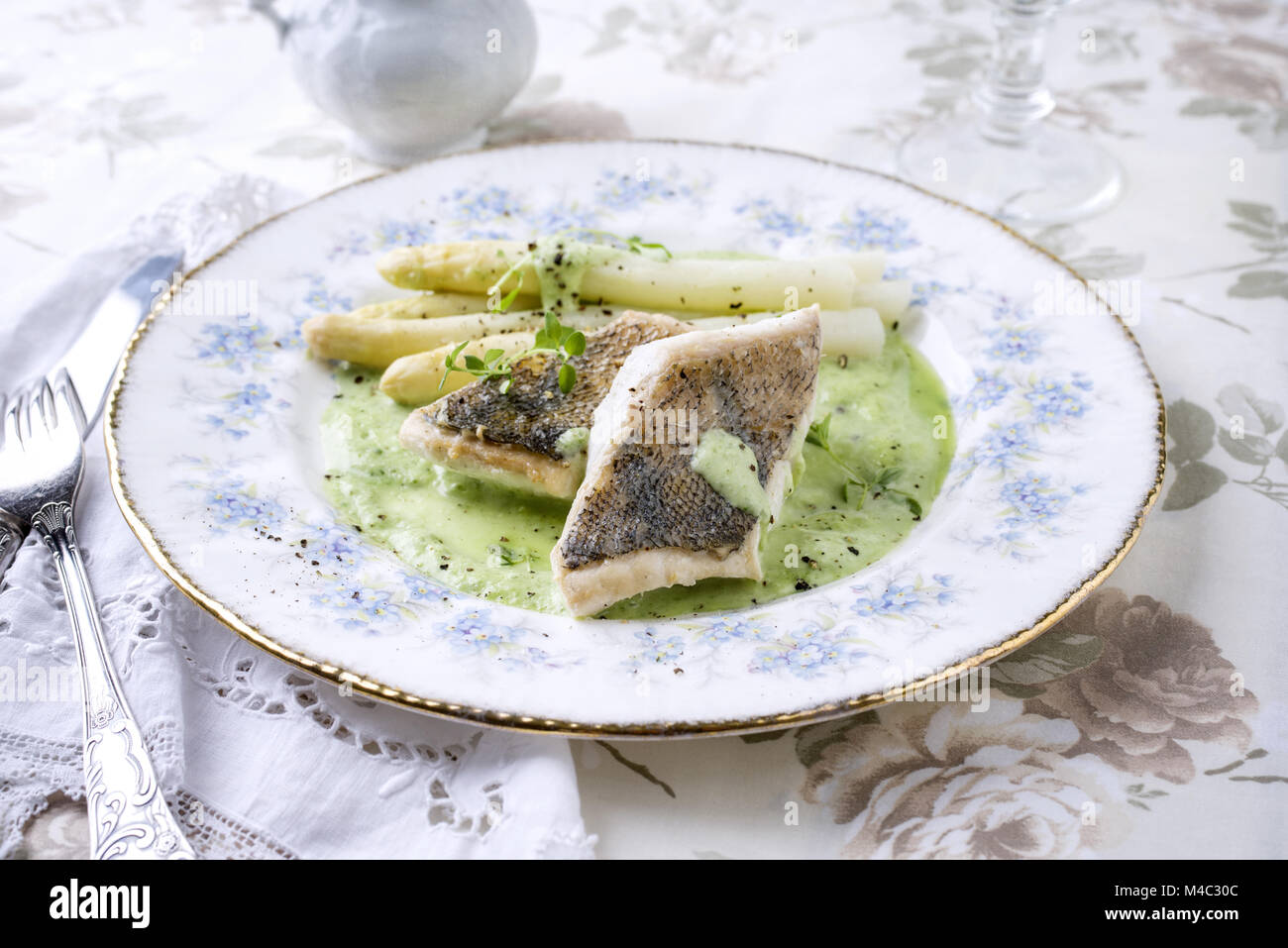 Zander Filet with White Asparagus on Plate - Stock Image