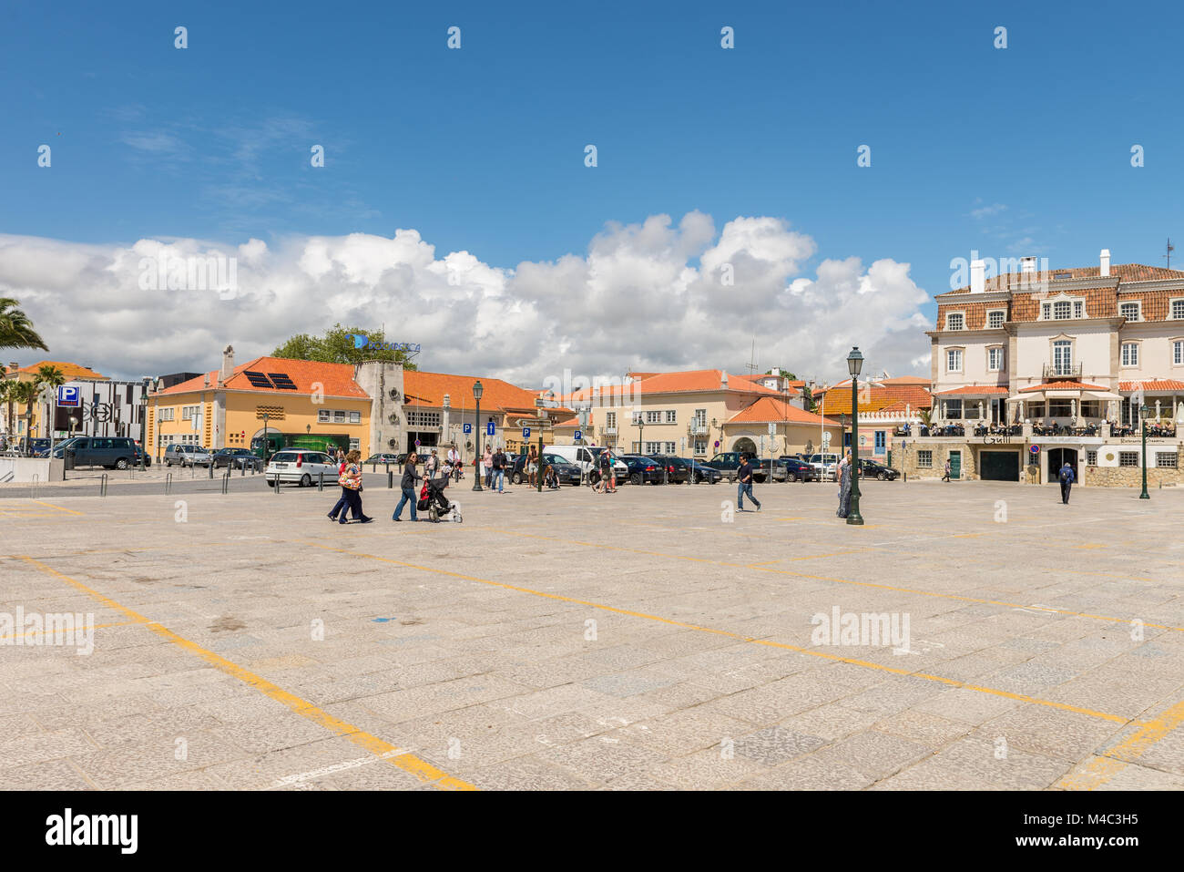 Square In Front Of A Famous Beach In Cascais Stock Photo