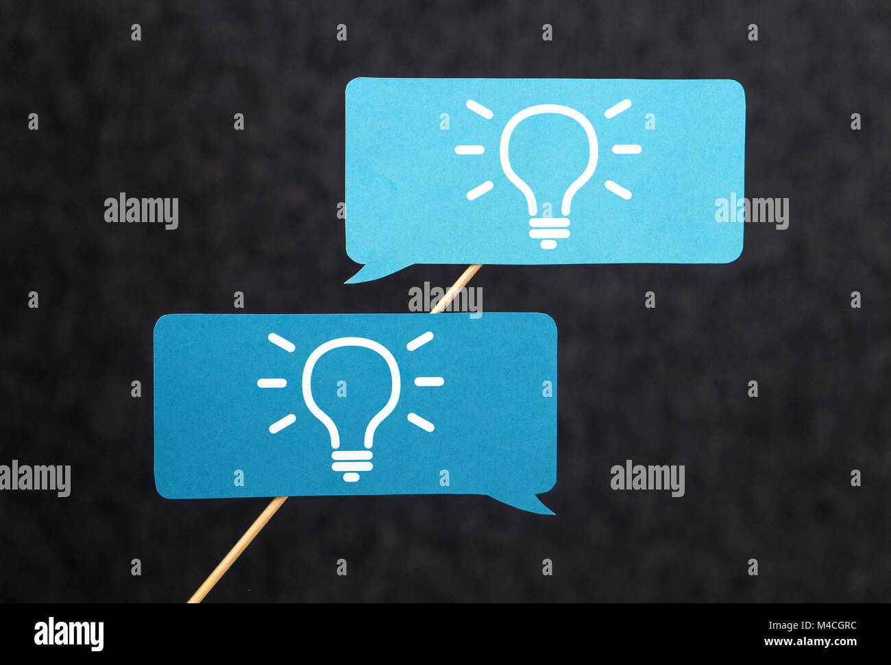 Innovation, brainstorm, inspiration and teamwork concept. Come up with new innovative and creative ideas together - Stock Image